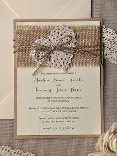 Rustic Wedding Invitation Burlap Wedding by 4LOVEPolkaDots on Etsy