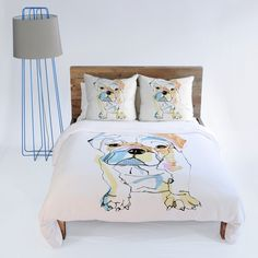Casey Rogers Bulldog Color Duvet Cover