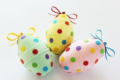 The easter eggs are an integral part of the Easter season and make beautiful holiday decorations. Add a thin ribbon or thread to hang as an