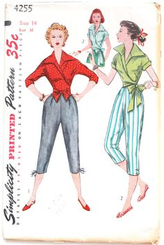 Vintage Wrap Blouse Pattern- 1950s Womens Wide Collared Wrap and Waist Tie Shirt/Blouse Sewing Pattern Size 14 Bust 32 Simplicity 4255 Uncut