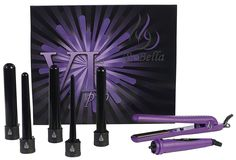 Bebella 6p Premium Pro Gift Set with 5 Piece Interchangeable Barrels 5 in 1 Hair Curling Iron System and Professional 1.25' Onyx Plates Straightener Flat, 500°, Purple >>> Review more details here : Travel Hair care