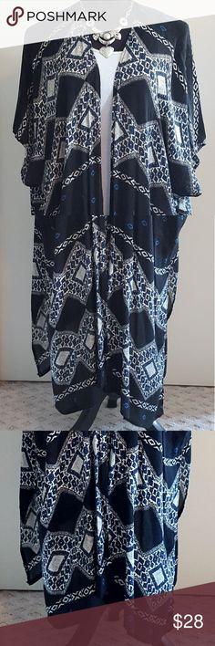 Long kimono duster by Tokyo Darling Tokyo Darling patterned, long kimono.  Size M, NWOT Tokyo Darling Tops
