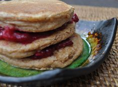 Peanut Butter and Jelly Pancakes:  1 1/2 cups spelt flour  1 1/4 cups non dairy milk  1/3 cup peanut butter (for a peanut free option, click here)  1 T vegan butter or light oil  2 1/2 tsp baking powder  1 egg (I used a flax egg)  1 T maple syrup  1/2 tsp salt