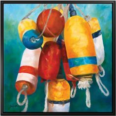 """26"""" Framed Versatile Nautical Buoys Ocean Theme Canvas Wall Art Decoration by Cape Craftsmen. $99.99. Canvas features decorative patterned versatile nautical buoys in various color schemesDimensions: 26""""H x 26""""W x 1.2""""DMaterial(s): canvas/wood"""