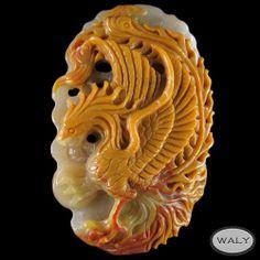 Carved Phoenix Multi Color Agate Bead   eBay