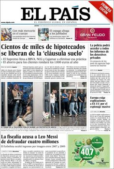 Los Titulares y Portadas de Noticias Destacadas Españolas del 13 de Junio de 2013 del Diario El País ¿Que le parecio esta Portada de este Diario Español?