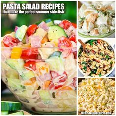 Best Pasta Salad Recipes perfect for Summer Entertaining are perfect for Barbecues, potlucks, after school snacks, or dinner parties! Best Pasta Salad, Summer Pasta Salad, Pasta Salad Recipes, Summer Salads, Potluck Side Dishes, Summer Side Dishes, Spicy Recipes, Cooking Recipes, Healthy Recipes