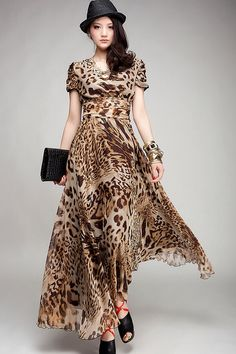 Leopard print maxi dress with sleeves