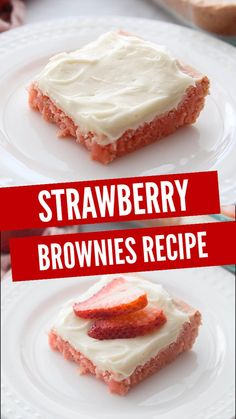 The BEST Strawberry Brownies Ever with Cream Cheese Frosting! Perfect for Summer! Strawberry Brownies, Strawberry Recipes, Dessert Ideas, Dessert Recipes, Delicious Desserts, Yummy Food, Lemon Squares, Bread Cake, Recipe Videos