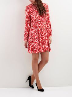 PATTERNED DRESS, Fiery Red, large
