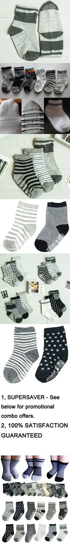 BS® 6 Pairs 2-3 Years Baby Boys Toddler Anti Slip Skid Slipper Stretch Knit Socks + Gift bag + Gift Card, Stripes Star Footsocks sneakers Socks, Sole Length 3.9inch - 4.7inch