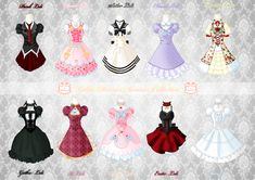 Finally I finished my new Lolita dresses collection *A*! 8 different Lolita dresses for a very loli summer So, what& your favourite one? ^_^ There are the pages where you can see every singl. Chibi Kawaii, Loli Kawaii, Dress Drawing, Drawing Clothes, Mom Drawing, Clothing Sketches, Fashion Sketches, Anime Dress, Lolita