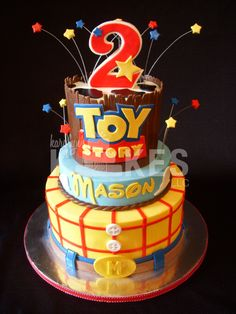 Toy Story Birthday KAKE  Cakes iced in buttercream with marshmallow fondant decorations