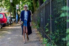 lisarvd.com | Lisa Hahnbueck is wearing a blue By Malene Birger Coat,  a white Shirt by Esprit, Denim Shorts by JBrands, Utopia Pantolette by Ash, Metropolis Jade bag by Furla and Céline Aviator Sunglasses