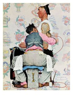 """""""Tattoo Artist"""", March 4,1944 Giclee Print by Norman Rockwell at Art.com"""