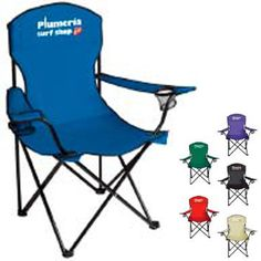 """Captain's Chair 45009 - Relax in the great outdoors in the privacy of your own back yard, at the lake or your favorite game! More than a chair, it features 2 mesh can holders and its own carrying case. Captain's folding chair made of 600 denier polyester. Frame: Powder coated steel. Folding chair with arms has a 300 lb. weight limit. Comes with nylon carry bag with strap and drawstring. Size : (Folded in case) 35"""" x 7"""" x 5 1/2"""". Pack 4. #propelpromo"""