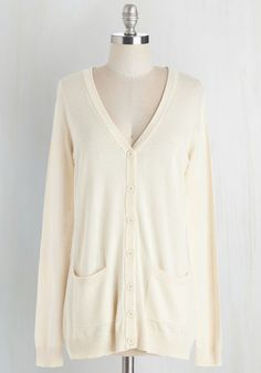Have a Good Knit Cardigan in Ivory From the Plus Size Fashion Community at www.VintageandCurvy.com
