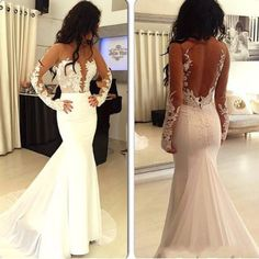 Hot selling prom dress, sexy prom dress, white prom dress, long sleeve prom dress, open back prom dress, long prom dress, cheap wedding dress, evening dress, PD125133