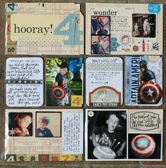 smaller photos with journaling + accents in the 4 x 6 slots