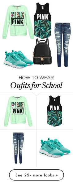 """school outfit"" by breonfleek on Polyvore featuring Victoria's Secret, Current/Elliott, NIKE, Michael Kors, women's clothing, women, female, woman, misses and juniors"