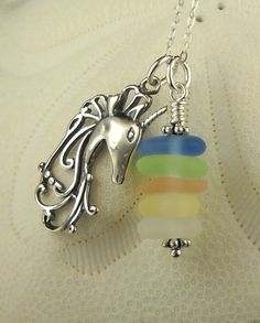 Sea Glass Necklace Sterling Silver With by seaglassgems4you, $40.00