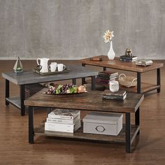 Create a modern country look in your living area or family room with the Cyra Industrial Style Cocktail Table. This is the perfect piece to place in front of your sofa for optimal visual appeal. The r...