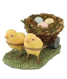 Bethany Lowe Vintage Chicks Pulling Nest with Eggs Easter Figurine
