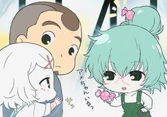 Suzuya Juuzou ~ Tokyo Ghoul  Chibi's from Tokyo Ghoul  Shinohara and then that chick with the green hair whose name I forgot •^•