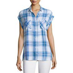 Rails Britt Plaid Short-Sleeve Shirt ($140) ❤ liked on Polyvore featuring tops, tartan shirt, short sleeve tops, short sleeve plaid shirts, shirt top and rayon tops
