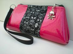 Skull Purse in Hot Pink and Black
