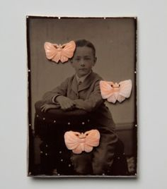 Bettina Speckner, brooch, ferrotype, silver, coral moths, glass, moth