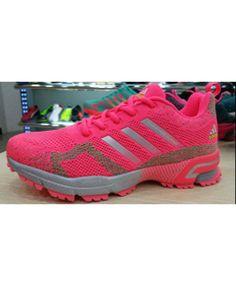 24a63c5a4c82 2015 Men s-Women s Adidas Marathon Flyknit Running Shoes Light Grey Fuchsia  Sale