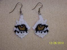 Wolf / eye /  Brick stitch beaded earring