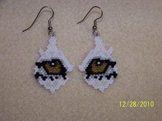 Wolf / eye /  Brick stitch beaded earring