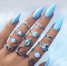 Retro Jewelry Buy Opal Vintage Silver Plated Arcylic Crystal Ring Set Charm Exquisite Elegant Finger Ring Sets Women Accessories at Wish - Shopping Made Fun - Nail Art Designs, Acrylic Nail Designs, Design Art, Nails Design, Ring Designs, Hair And Nails, My Nails, Bio Gel Nails, Opal Nails