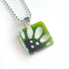 Hand painted flower glass pendant lime and aqua by azurine, $20.00