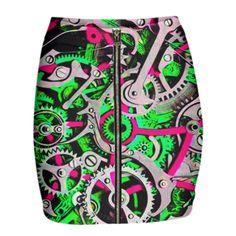 Shop 107 Gabriel Held Neoprene Mini Zip Skirt by THE GRIFFIN PASSANT STREETWEAR (STREETWEAR) | Print All Over Me