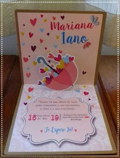 Convite pop-up Chuva de Amor Pop Up, Projects To Try, Alice, Baby Shower, Kids, Invitation Birthday, Invitations Kids, Bow Braid, Cloud Party
