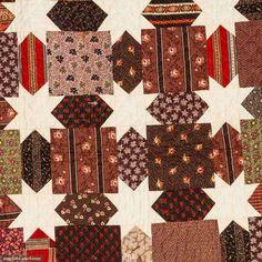 Augusta Auctions: Stars & Blocks pieced quilt 1880-1900 Detail