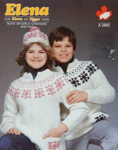 Childs' Sweater Knitting Pattern with Hat/ Vintage White Buffalo Elena Pattern 2802,Size 2 - 14 Boy, Girl, Icelandic Style Cardigan Graph by RedWickerBasket on Etsy