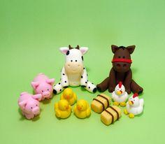 Fondant Farm Animals Cake Topper - Horse, Cow, Pig, duck, hen by SugarDecorByLetty on Etsy Farm Animal Cakes, Farm Animal Party, Farm Party, Farm Animals, Fondant Cake Toppers, Fondant Figures, Fondant Cakes, 2 Birthday Cake, Farm Birthday