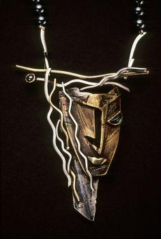 Necklace | Enid Kaplan. 'Diana'. Sterling silver, 14k gold, brass, tourmaline and hematite. 1988