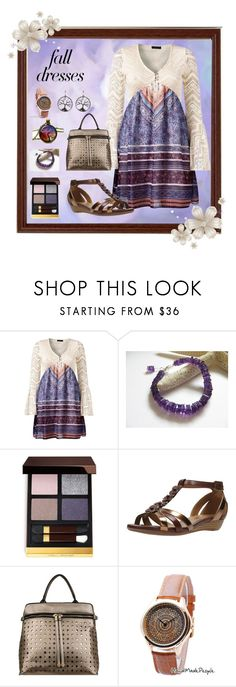 """""""Eclectic Crochet Fall Dress"""" by aurorasblueheaven ❤ liked on Polyvore featuring Venus, Tom Ford, Clarks, Mellow World and falldresses"""