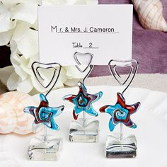 Murano Glass Collection starfish design place card holders