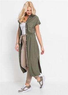 Rochie-cămaşă oliv O piesă ideală pentru • 149.9 lei • bonprix Lei, Shirt Dress, T Shirt, Duster Coat, Bikini, Costume, Dresses, Fashion, Supreme T Shirt
