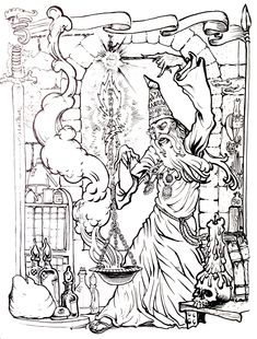 Free coloring page coloring-merlin. Drawing to print & color of the great… Free Adult Coloring Pages, Coloring Book Pages, Printable Coloring Pages, Colouring Pics, Colouring Pencils, Halloween Coloring Pages, Colorful Pictures, Animal Drawings, The Magicians