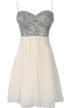 Silver and Ivory Sequin Bustier Chiffon Dress by Ark and Co $70 would be perfect for an engagement party, or at the bars after you're over the heavy dress.