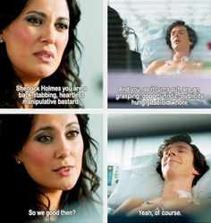 Sherlock & Janine. Janine is often disliked but she was the victim. I'm glad she got even & got a great cottage out of it. Sherl can be such a bastard. I like that the tabloid stories don't even bother him, quickly forgotten.