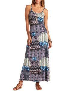 cut-out mixed paisley print maxi dress