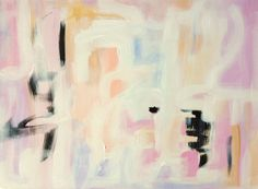 Jane by Christine Dovey, Wink of Pink on Etsy, abstract painting, blush, white, black, blue